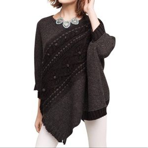 Anthropologie Cabled Poncho Sleeping On Snow